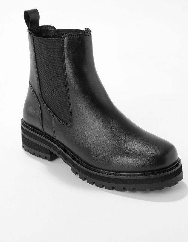 Boots plateforme cuir, noir, hi-res
