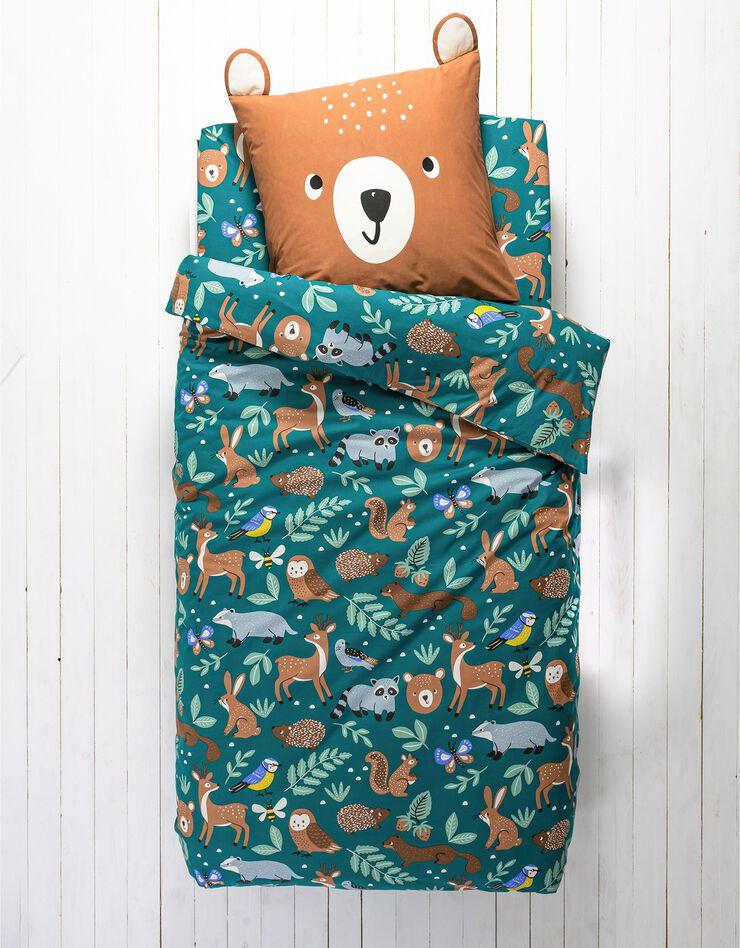 Bedlinnen voor kinderen met knuffelbeer motief in biologisch katoen, eco-verantwoord, groen, hi-res image number 5