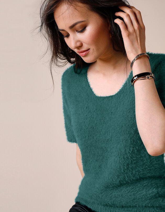 Trui in zacht tricot met korte mouwen, smaragd, hi-res