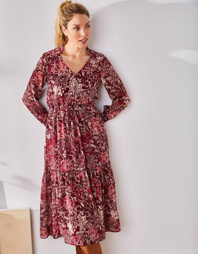Robe longue imprimée à volants , prune / framboise, hi-res