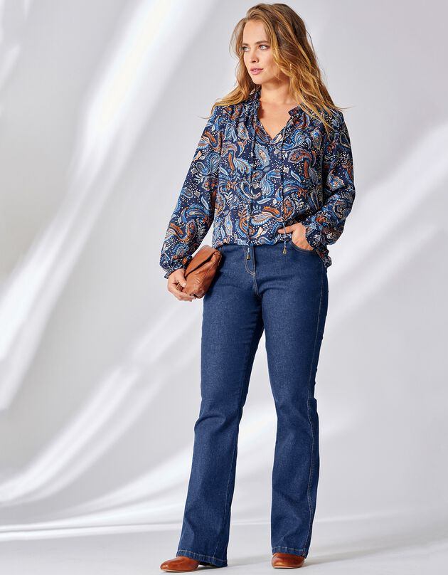 Jean bootcut coupe 5 poches - stretch, dark blue, hi-res