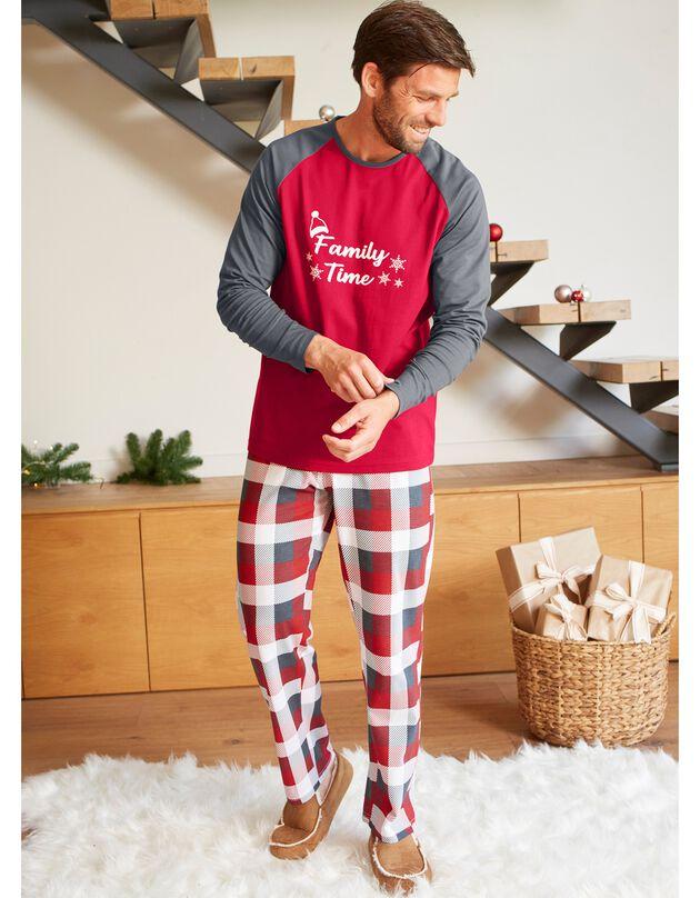 Pyjama de Noël, manches longues homme, gris / rouge, hi-res