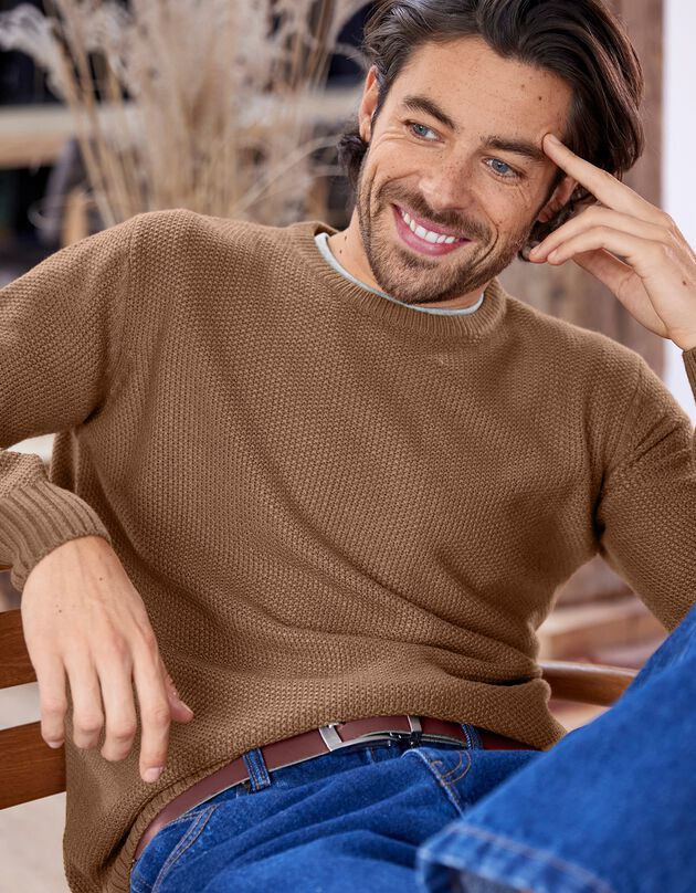 Pull col rond maille fantaisie manches longues, cuivre, hi-res