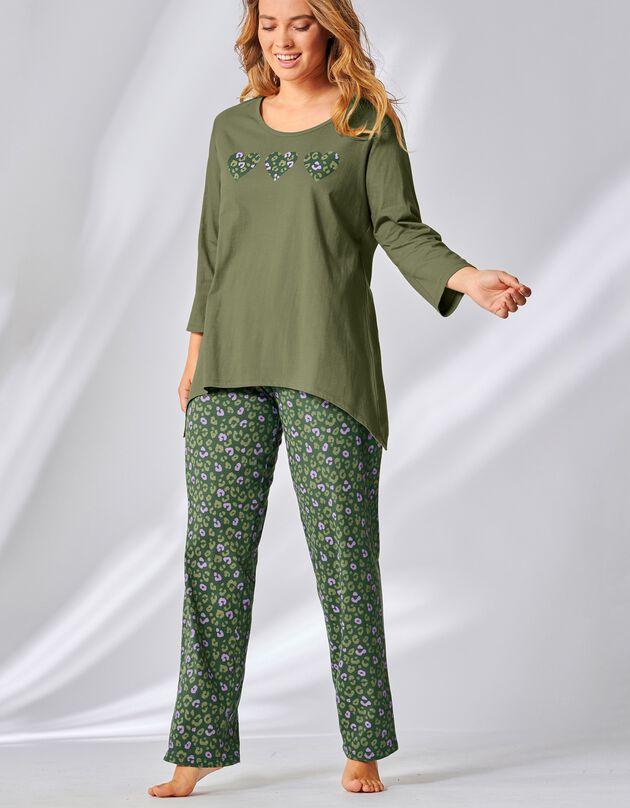 Pyjama manches 3/4 imprimé léopard, kaki, hi-res