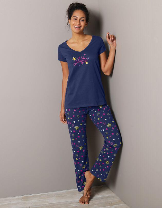 3/4-pyjamabroek met sterrenprint Estrella - katoen, marine, hi-res