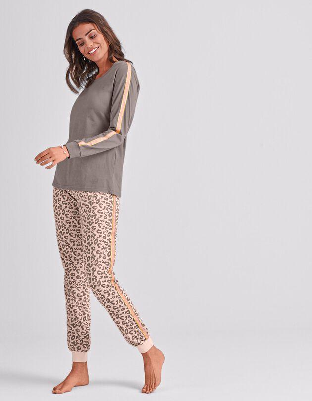 Pyjama à bandes irisées manches longues imprimé léopard, rose / taupe, hi-res