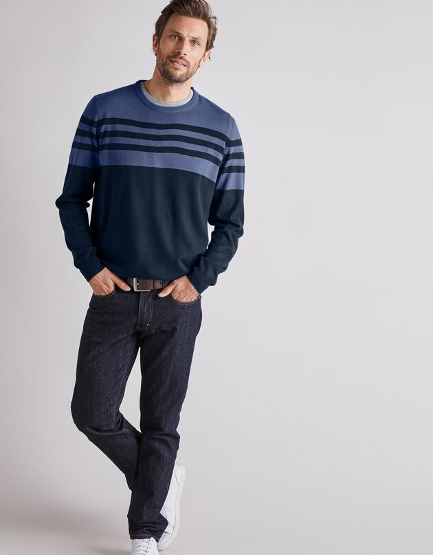 Gestreepte trui met ronde hals en kasjmiertouch, marine / blauw, hi-res