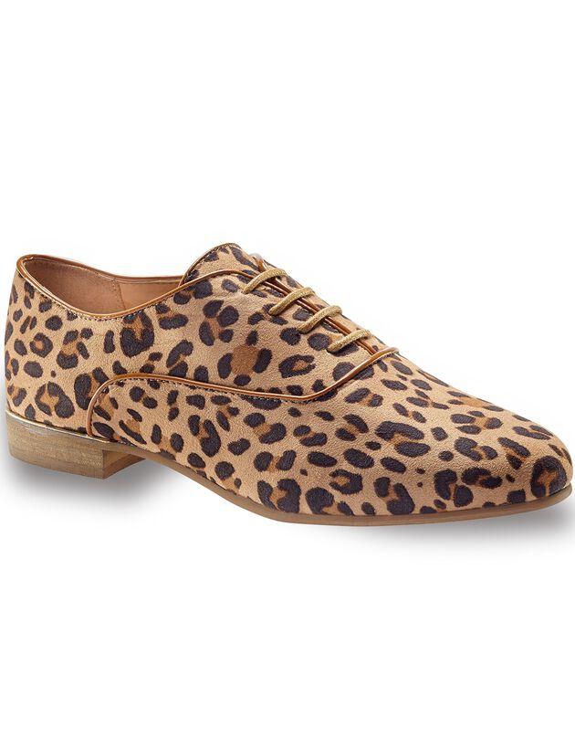 Derby's - luipaardprint, beige / zwart, hi-res