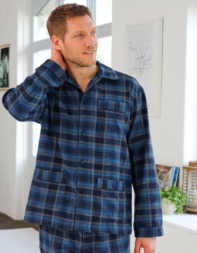 Pyjama carreaux en pilou, bleu, hi-res