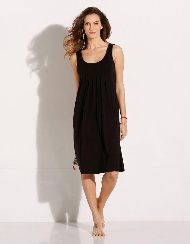 Effen jurk met ronde hals, zwart, hi-res
