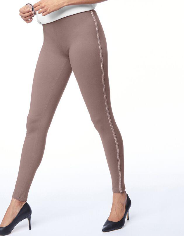 Legging uni bande côté en maille brillante, marron glacé, hi-res