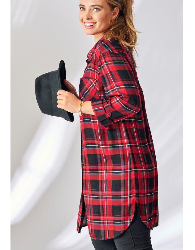 Lang hemd met ruitjes, zwart / rood, hi-res