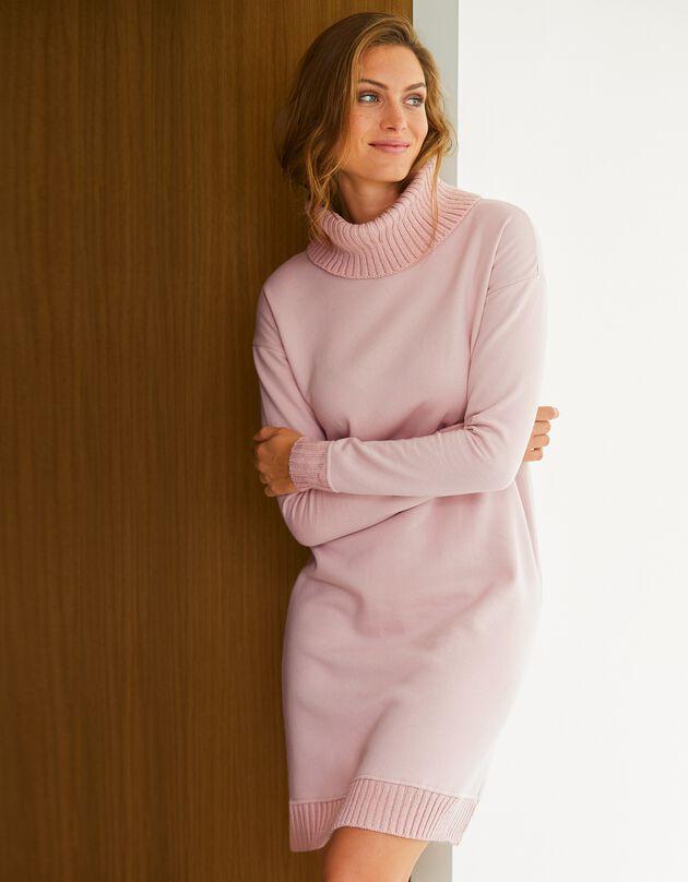 Sweaterjurk in 2 materialen, poederroze, hi-res
