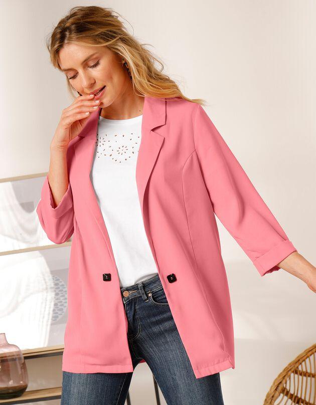 Soepele effen blazer, roze, hi-res
