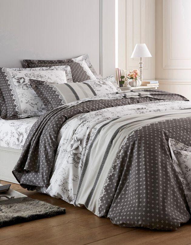 Linge de lit Gabrielle en coton imprimé pois, fleurs et dentelle, gris, hi-res