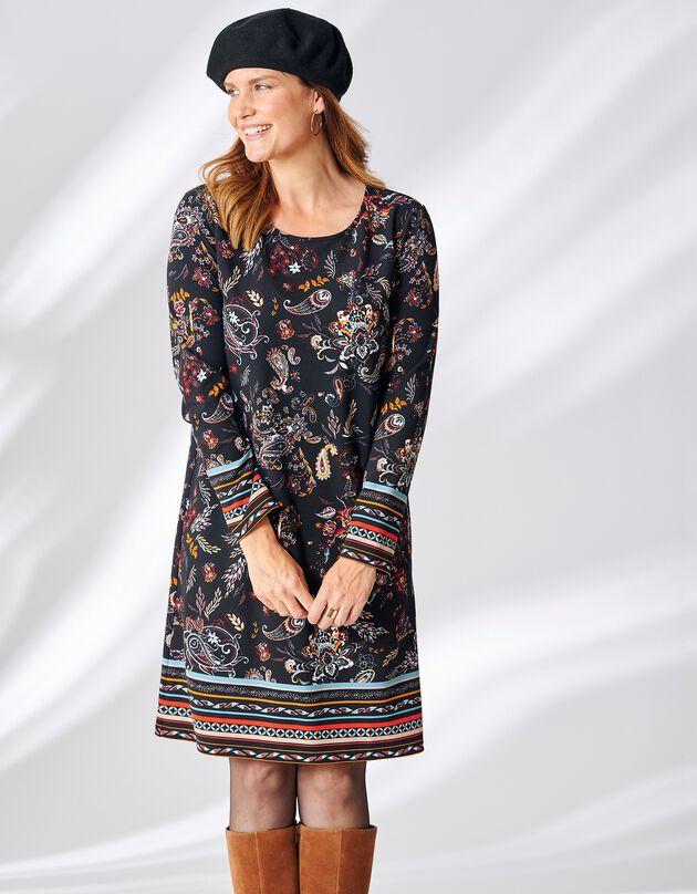 Korte, bedrukte jurk met ronde hals, marine / ecru, hi-res