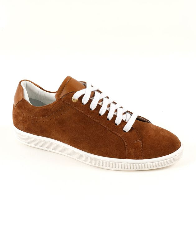 Sneakers in splitleer - karamel, karamel, hi-res