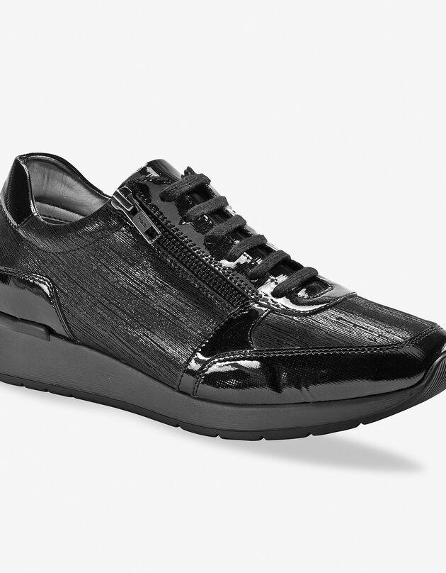 Baskets met sleehak in gelakt leer met LWG-certificaat - zwart, zwart, hi-res