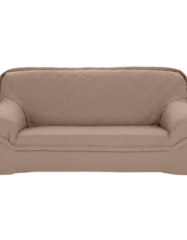Housse bachette matelassée coton uni fauteuils canapés accoudoirs, taupe, hi-res
