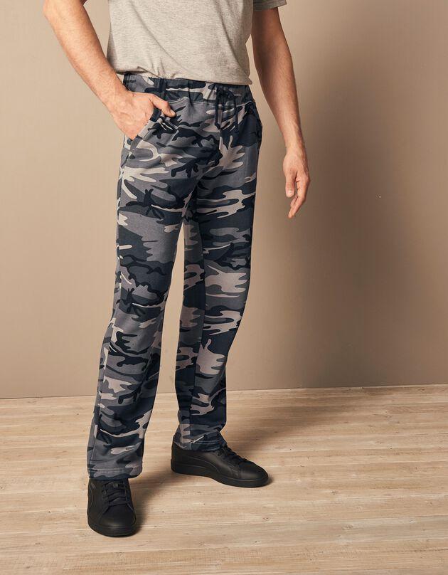 Pantalon jogging molleton bas droits, gris camouflage, hi-res