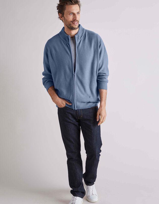 Vest in fantasietricot, jeansblauw, hi-res