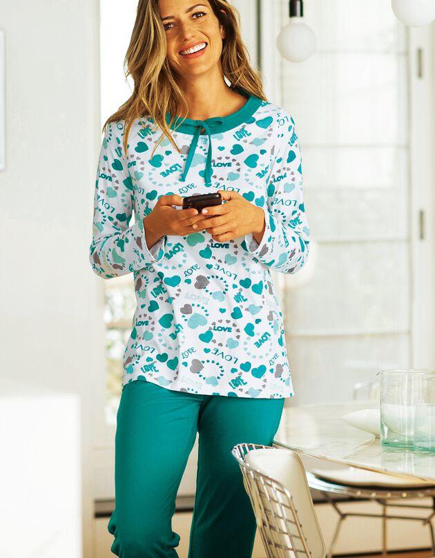 "Pyjama femme imprimé ""coeurs"", émeraude, hi-res"