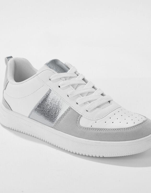 Sneakers met platformzool en veters - grijs, wit / grijs, hi-res