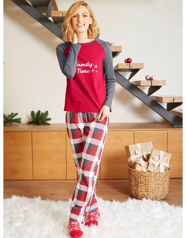 Kerstpyjama, lange mouwen, dames, grijs / rood, hi-res