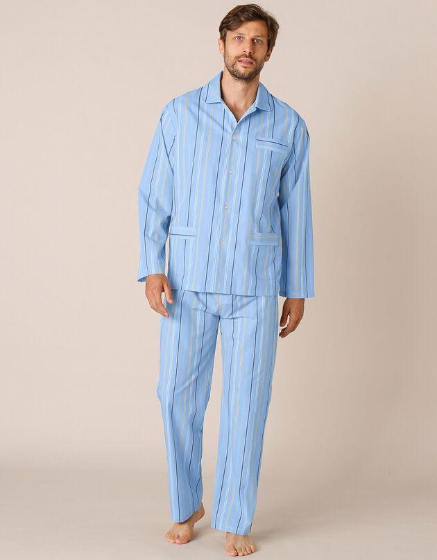 Pyjama rayé polyester/coton popeline, rayé bleu, hi-res