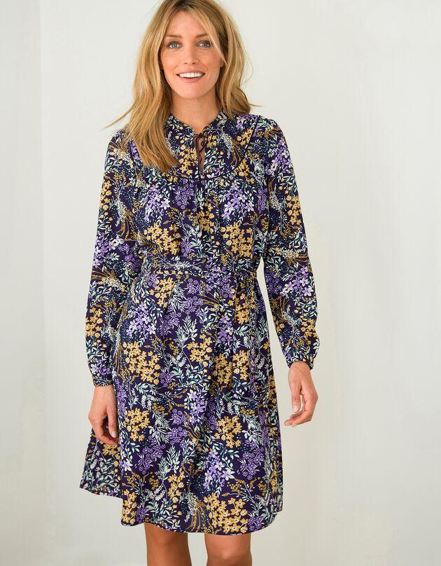 Bedrukte jurk in hoesmodel met biesje in velours, paars / parma, hi-res