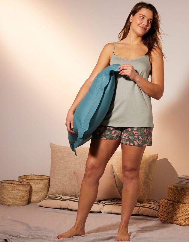 Pyjashort imprimé tropical, kaki, hi-res