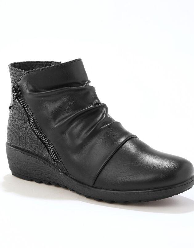 Boots in 2 materialen met plissé en sleehak - zwart, zwart, hi-res
