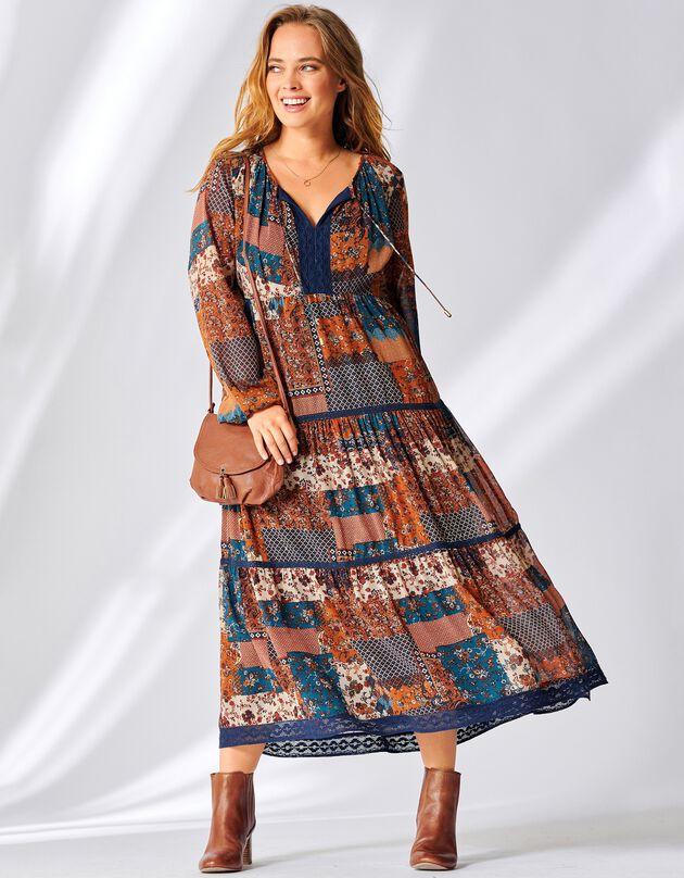 Lange, bedrukte jurk met macramé, blauw / karamel, hi-res