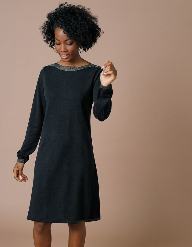 Trui-jurk met A-lijn en glanzende boothals - kasjmiertouch, zwart, hi-res