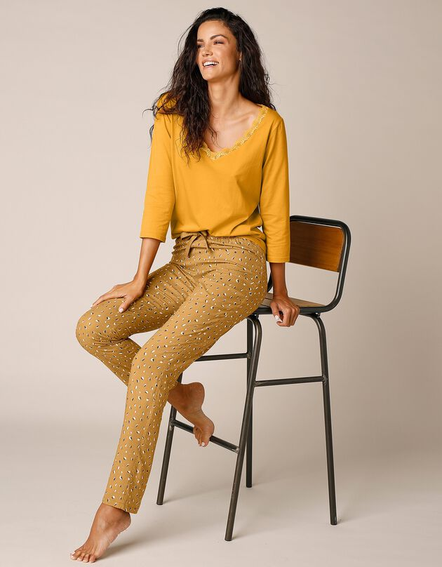 Pantalon pyjama fluide imprimé géométrique, curry, hi-res