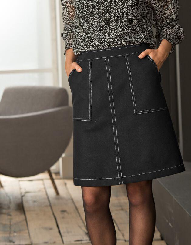 Jupe trapèze bicolore, noir, hi-res