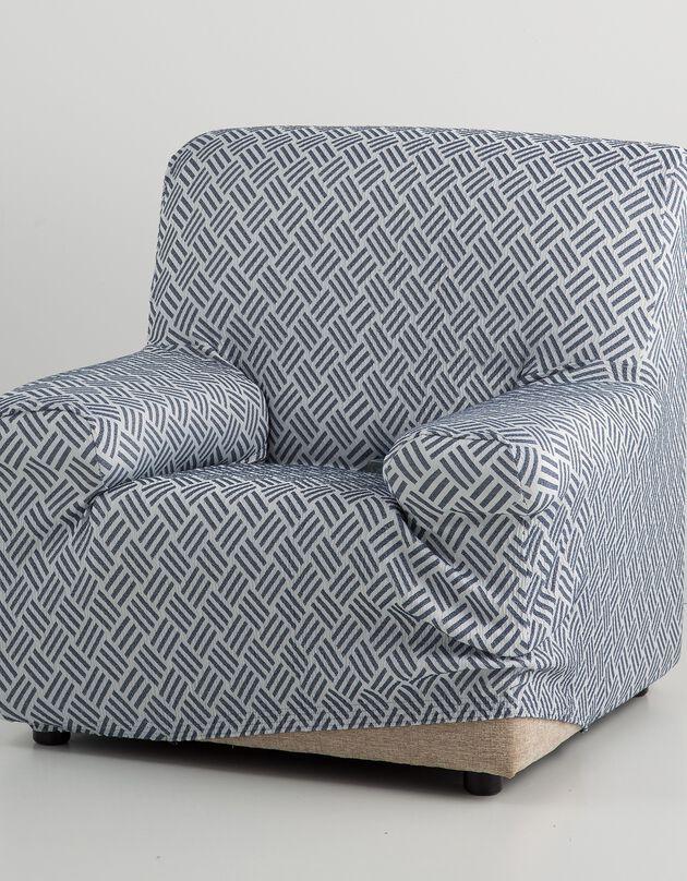 """Housse fauteuil et canapé """"Valeria"""", blanc / bleu, hi-res"""