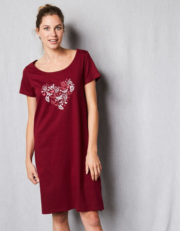 Kort nachthemd met korte mouwen en vlindermotief, kersenrood, hi-res