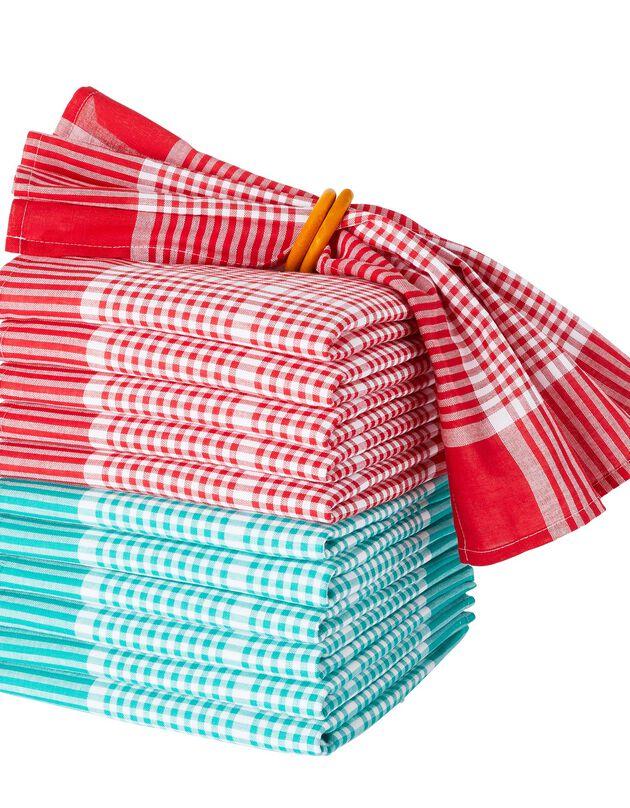 Serviette de table carreaux normand - lots, rouge + vert, hi-res