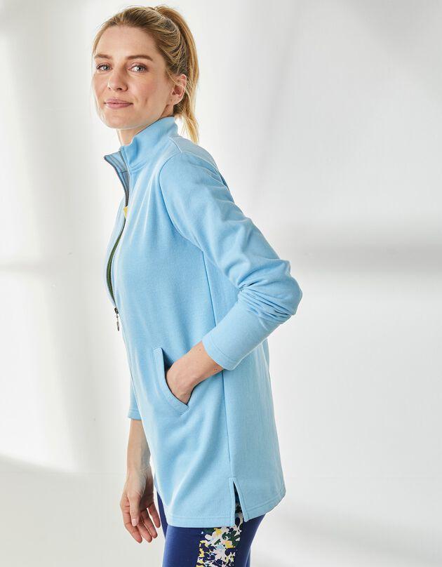 Vest in geruwd molton met opstaande ritskraag, blauw, blauw, hi-res