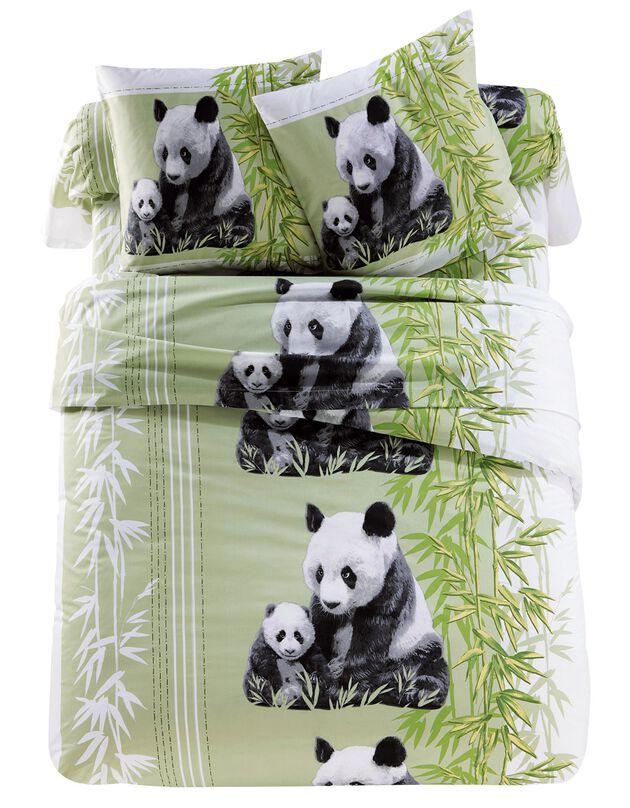 Bedrukt bedlinnen Pandas in polykatoen, groen, hi-res