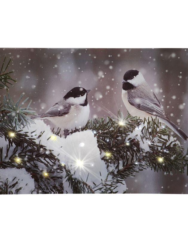 Tableau lumineux oiseaux, gris, hi-res