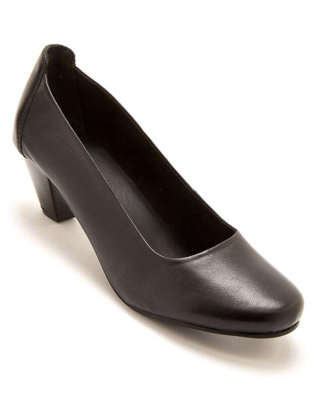 Escarpins grande largeur en cuir - noir, noir, hi-res