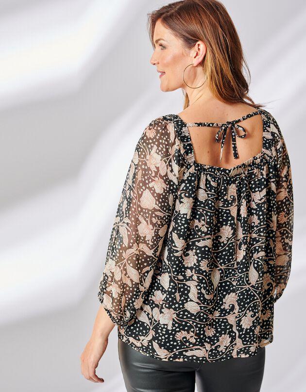 Bedrukte bloes met vierkante hals, zwart / beige, hi-res
