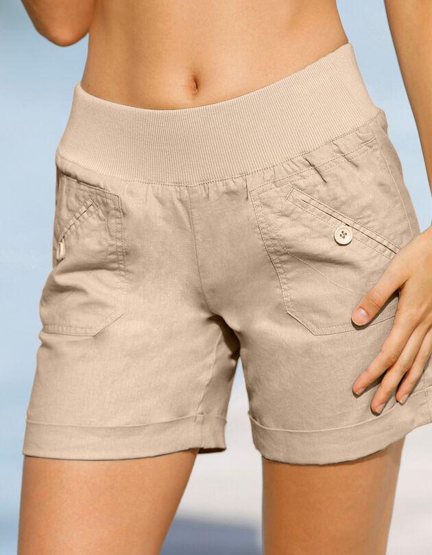 Short lin coton, naturel, hi-res