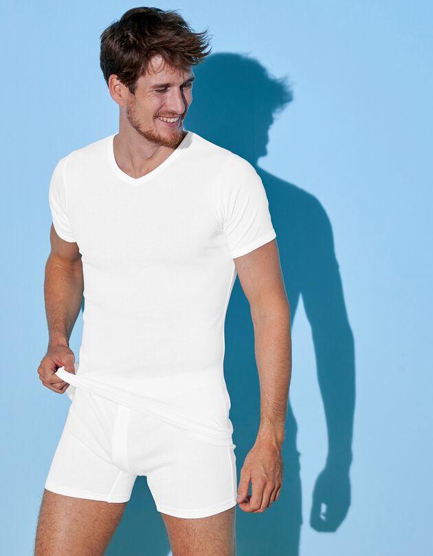 Tee-shirt sous-vêtement homme col V - lot de 3, blanc, hi-res