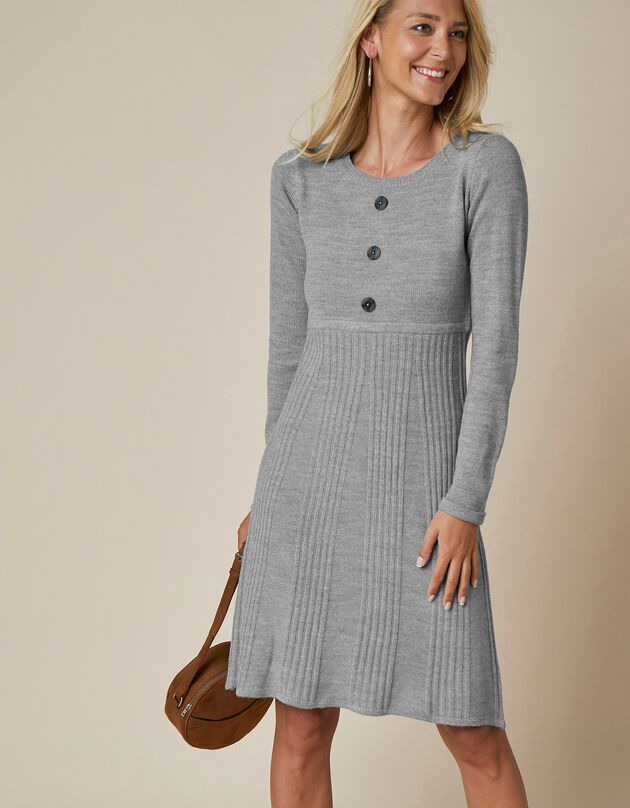 Trui-jurk met knoopsluiting, chiné grijs, hi-res