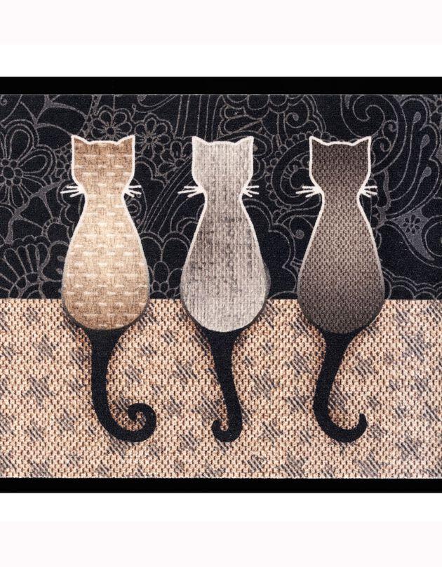 Tapis anti-poussière motif chats, gris/noir, hi-res