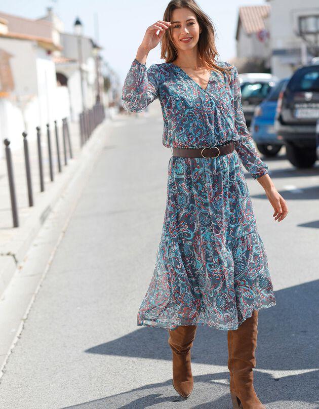 Halflange bedrukte jurk, grijs / eendenblauw, hi-res