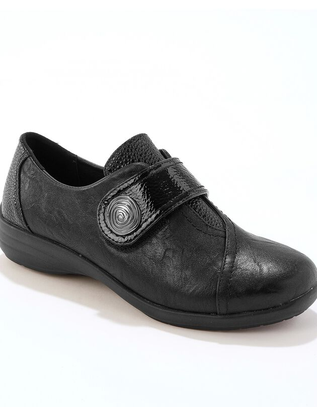 Comfortabel brede derby's met scratchsluiting - zwart, zwart, hi-res